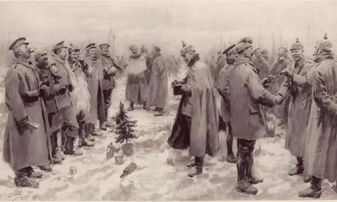 """From The Illustrated London News of January 9, 1915: """"British and German Soldiers Arm-in-Arm Exchanging Headgear: A Christmas Truce between Opposing Trenches"""""""