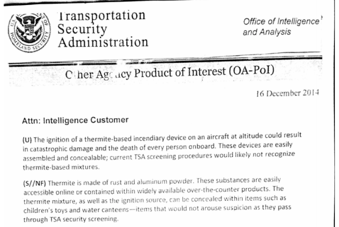 TSA report: 'thermite is a major threat to aviation & we are unprepared'