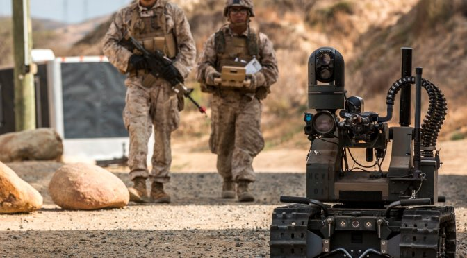 The Marines are testing this crazy machine gun-wielding death robot
