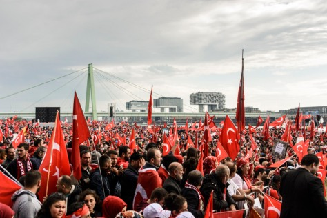 Police estimates indicate that between 30,000 and 40,000 people attended the pro-Erdogan demonstration.