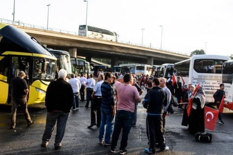 Some of the buses, which were organised by the Union of European Turkish Democrats (UETD) to take protesters to and from the demonstration.