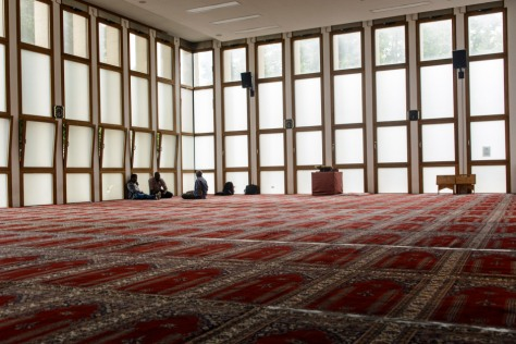 Inside the DITIBs central mosque in Cologne. Various ethnicities and nationalities attend the prayers.